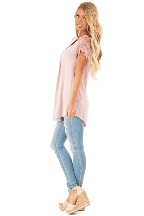 Dusty Blush Top with Sheer Crochet Lace Short Sleeves side full body