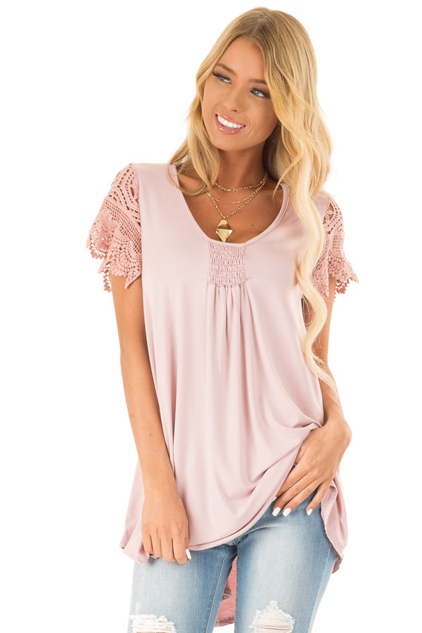 Dusty Blush Top with Sheer Crochet Lace Short Sleeves front close up