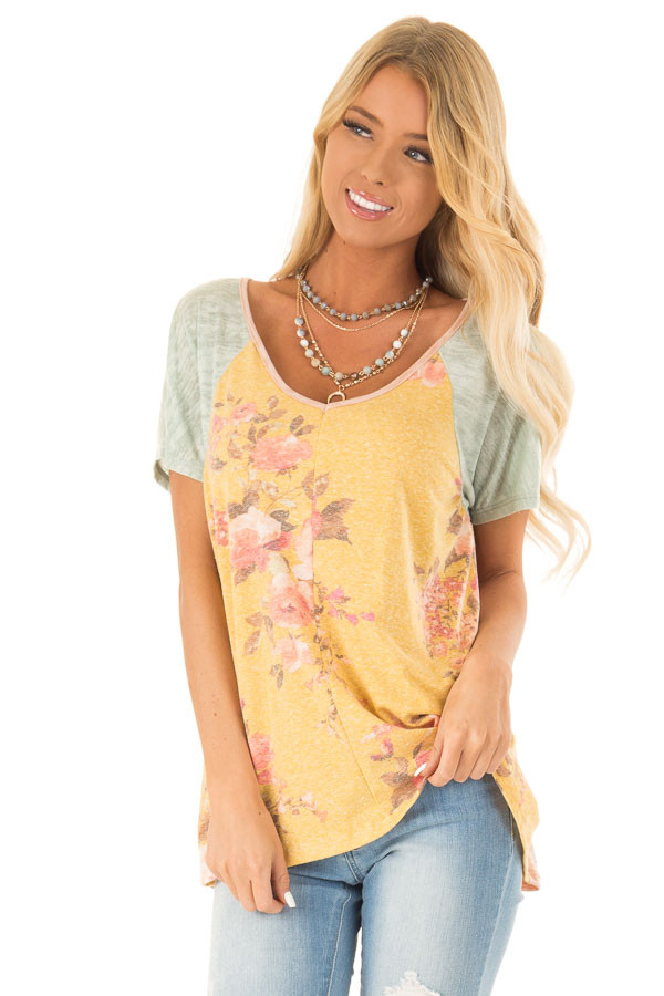 Mustard Multicolored Short Sleeve V Neck Top front close up