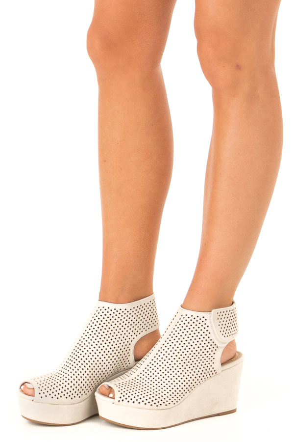 Chamois Perforated Open Toe Wedge Sandal side view