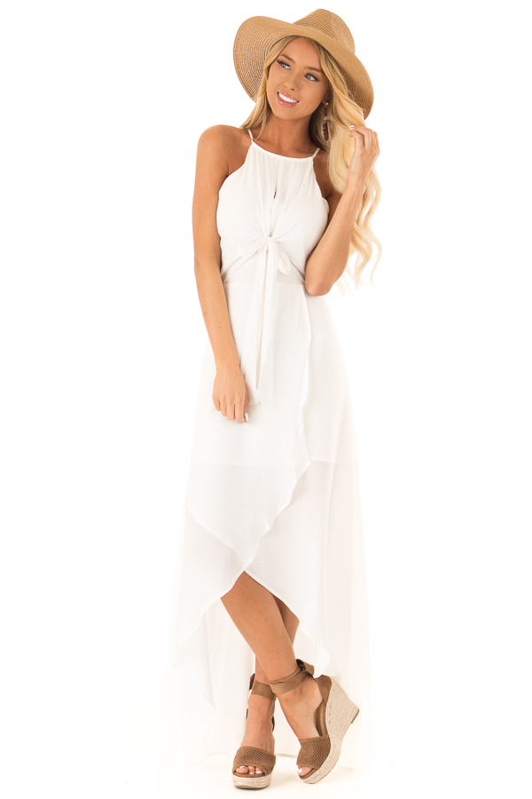 27caf57b42d8da Off White Halter Neck High Low Dress with Front Tie Detail front full body