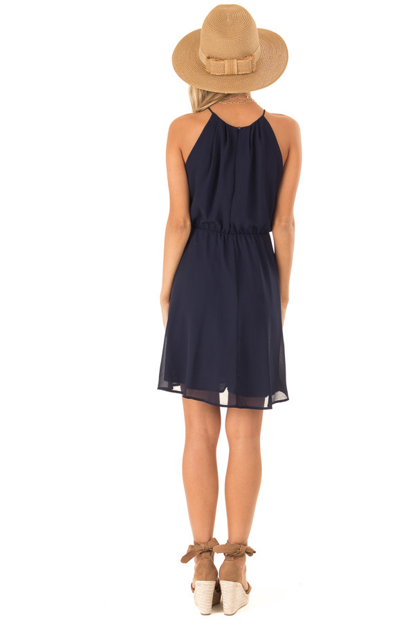 Midnight Navy Chiffon Trapeze Strap Mini Dress back full body