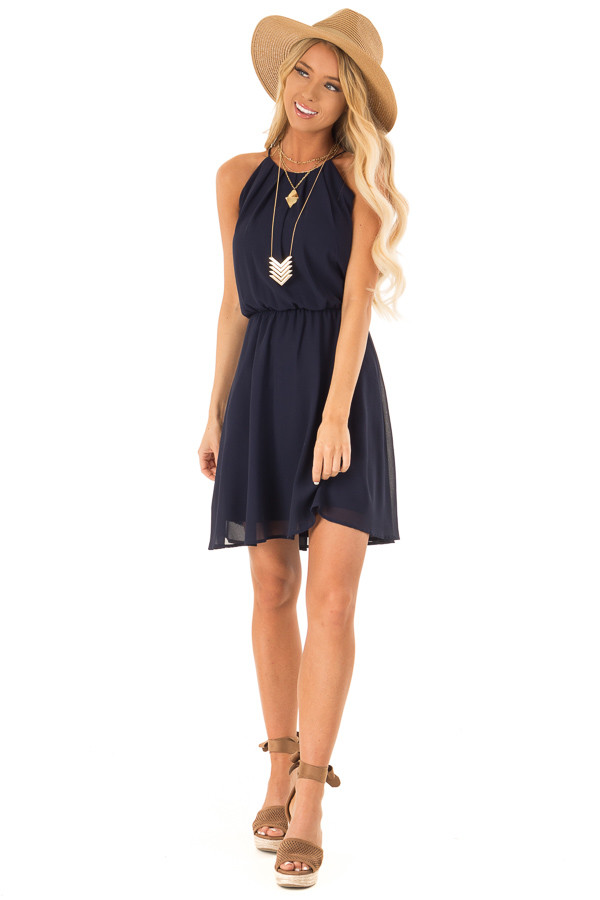 Midnight Navy Chiffon Trapeze Strap Mini Dress front full body