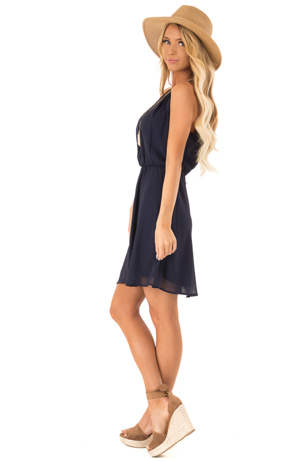 Midnight Navy Chiffon Trapeze Strap Mini Dress side full body