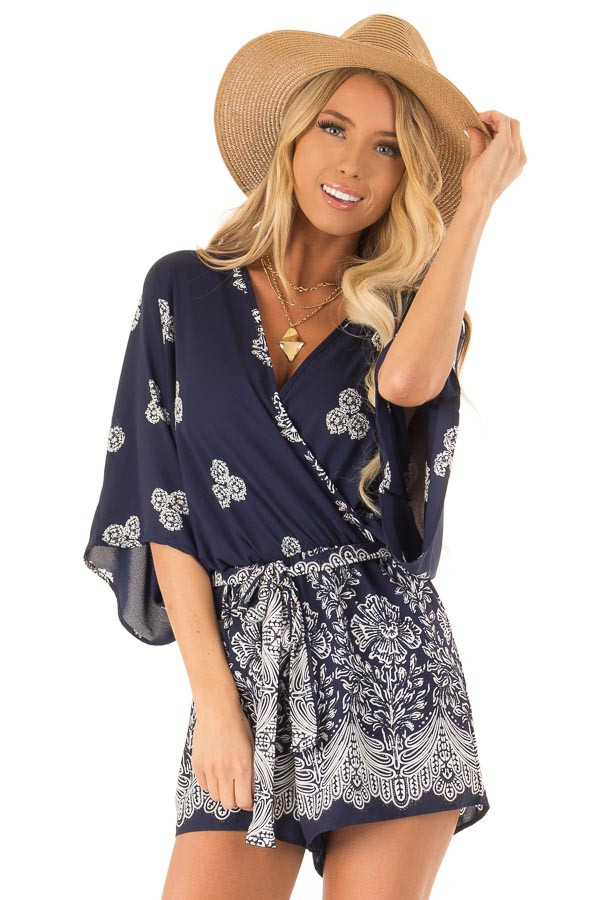 Navy Surplice Romper with Floral Print and Front Tie front close up
