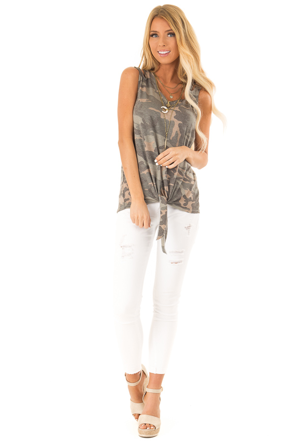 Army Green Camo Tank Top with Shoulder Cutouts and Tie front full body