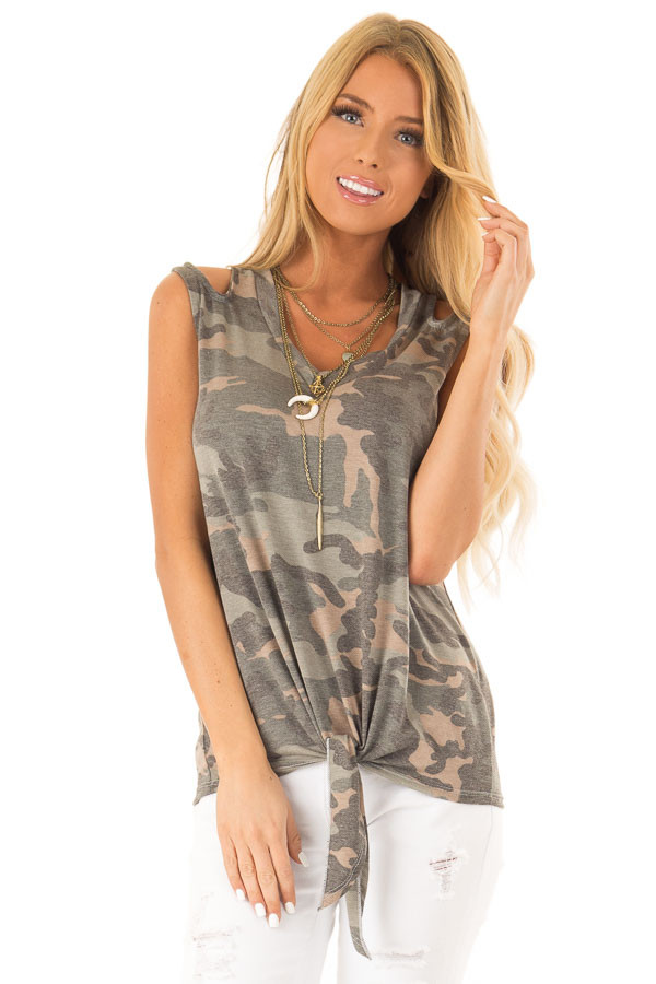Army Green Camo Tank Top with Shoulder Cutouts and Tie front close up