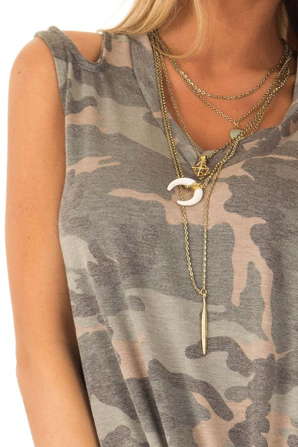 Army Green Camo Tank Top with Shoulder Cutouts and Tie detail