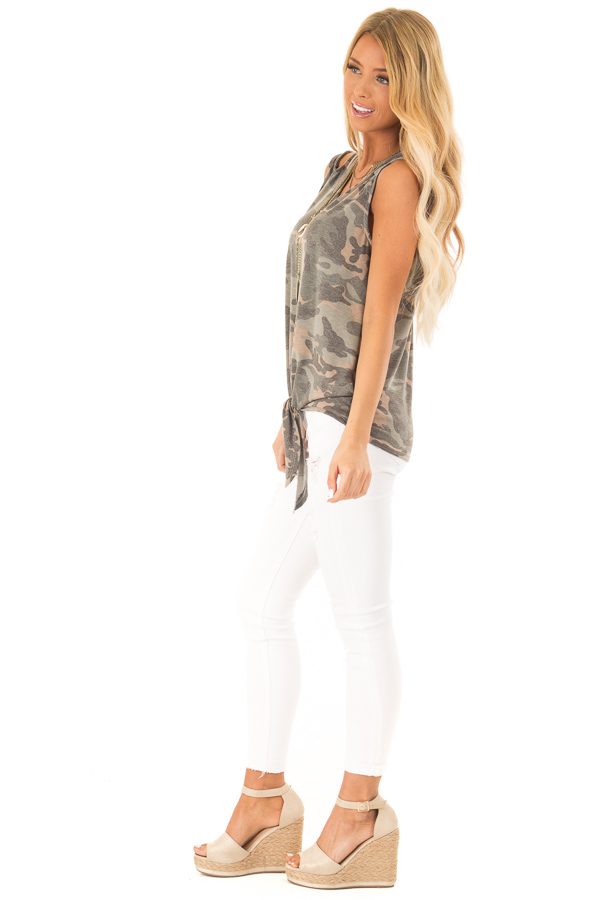 Army Green Camo Tank Top with Shoulder Cutouts and Tie side full body