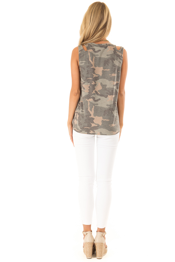 Army Green Camo Tank Top with Shoulder Cutouts and Tie back full body