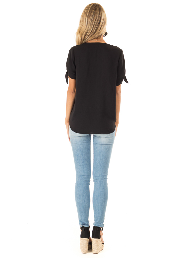 Obsidian Crossover Top with Short Sleeve Tie Detail back full body