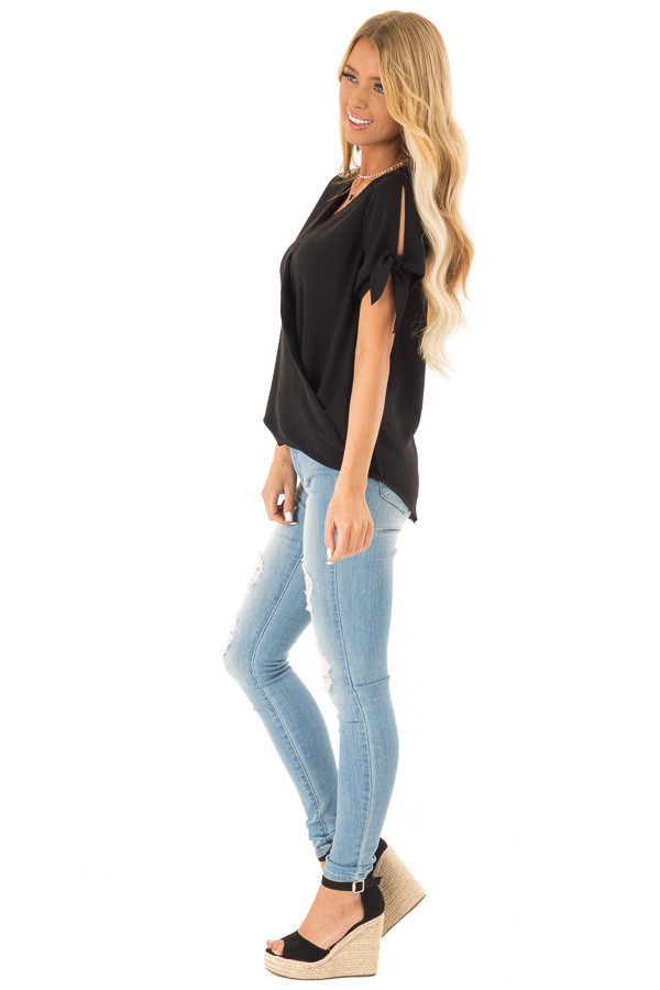 Obsidian Crossover Top with Short Sleeve Tie Detail side full body