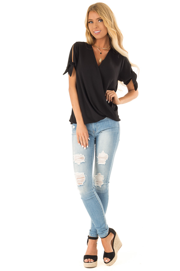 Obsidian Crossover Top with Short Sleeve Tie Detail front full body