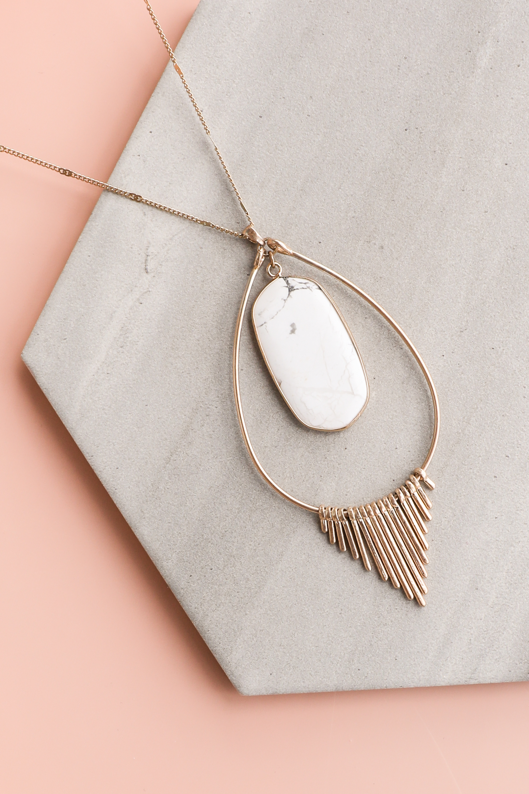 Gold Long Necklace with Marble Pendant and Metal Fringe