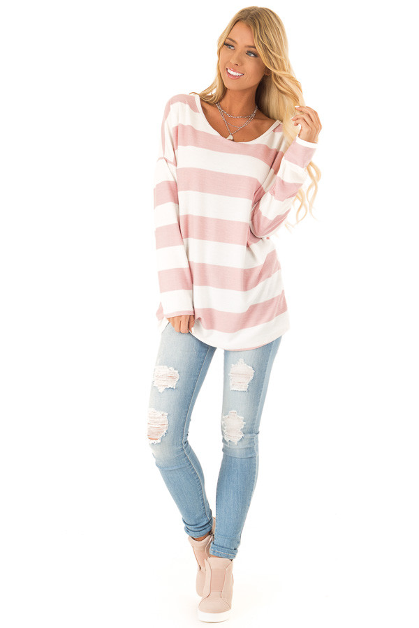 Blush and White Striped Long Sleeve with Criss Cross Back front full body