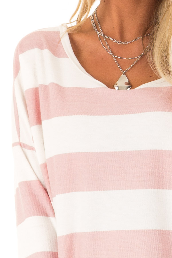 Blush and White Striped Long Sleeve with Criss Cross Back detail