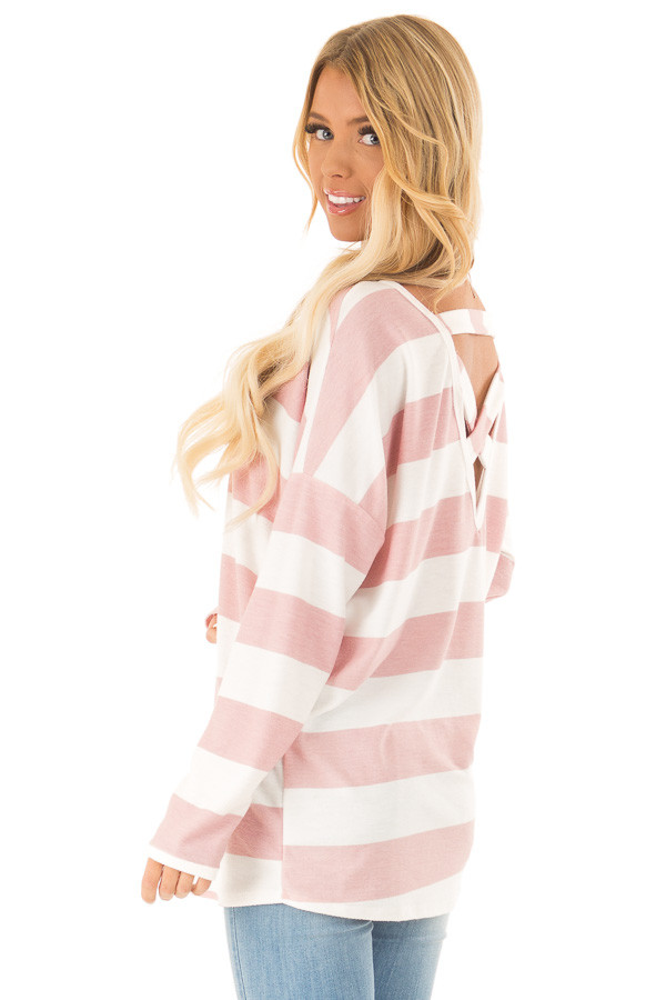 Blush and White Striped Long Sleeve with Criss Cross Back back side close up
