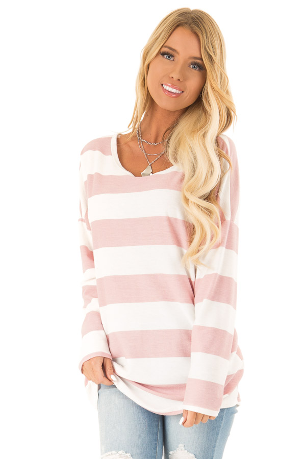 Blush and White Striped Long Sleeve with Criss Cross Back front close up