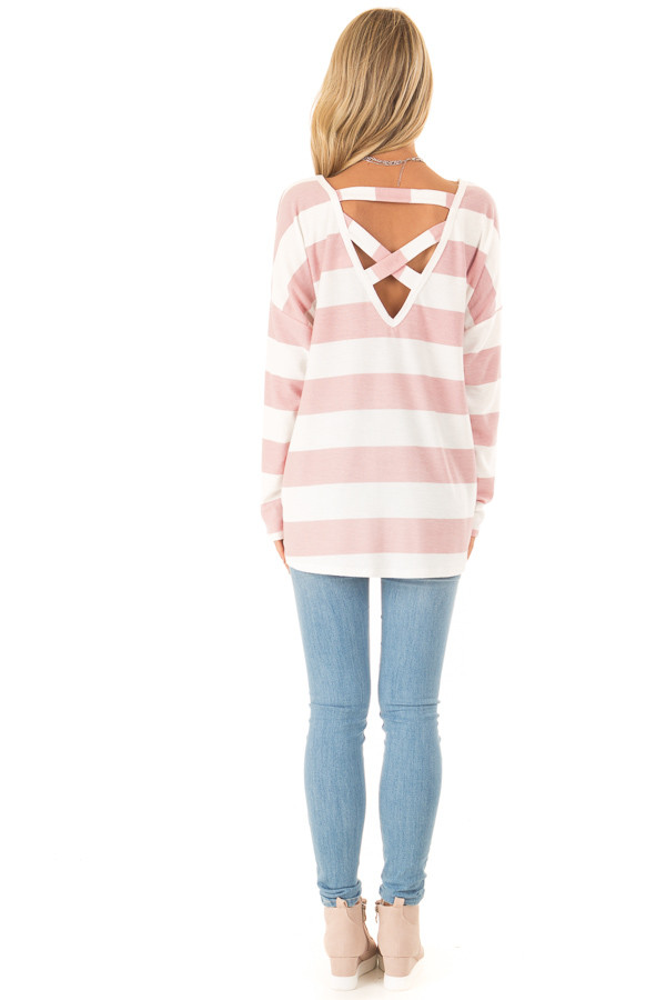Blush and White Striped Long Sleeve with Criss Cross Back back full body