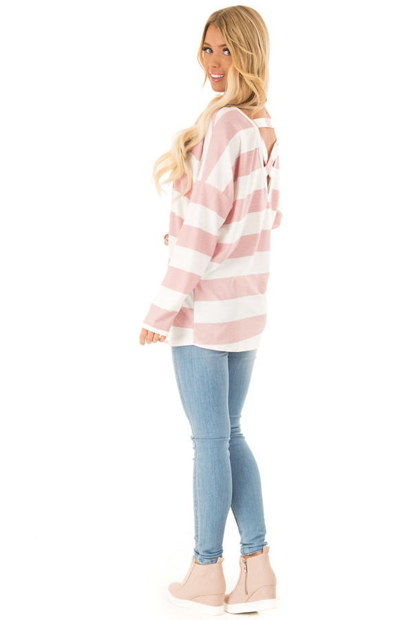 Blush and White Striped Long Sleeve with Criss Cross Back side full body
