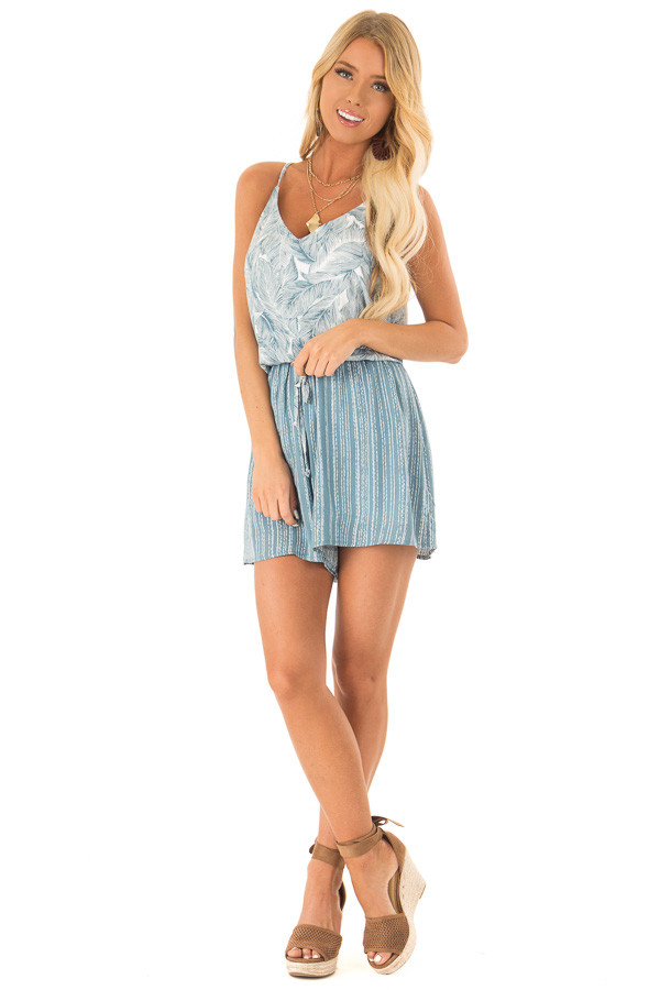 Aqua and Pearl Romper with Tropical Print Detail front full body