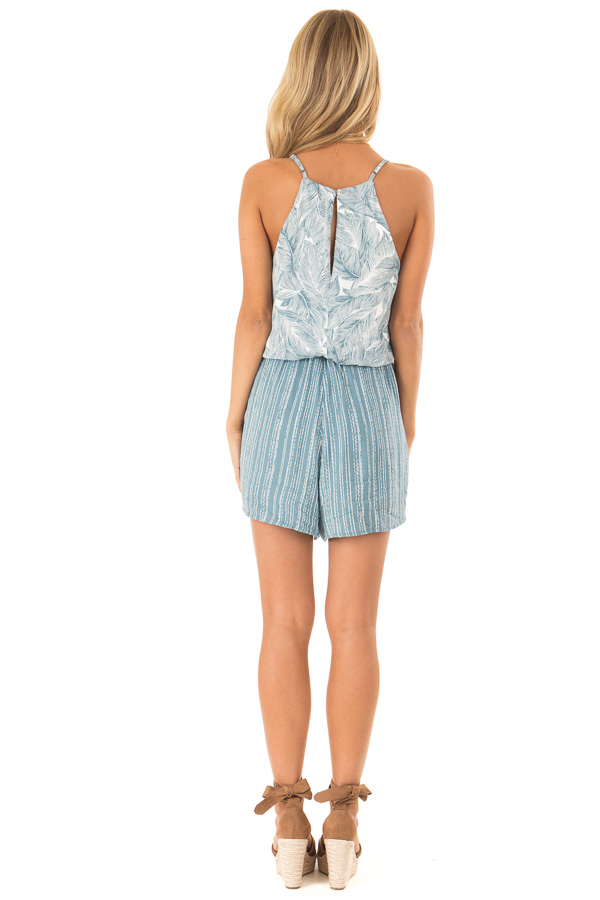 Aqua and Pearl Romper with Tropical Print Detail back full body
