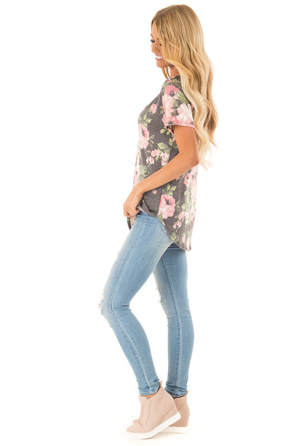 Heather Charcoal Floral V Neck Short Sleeve Top side full body