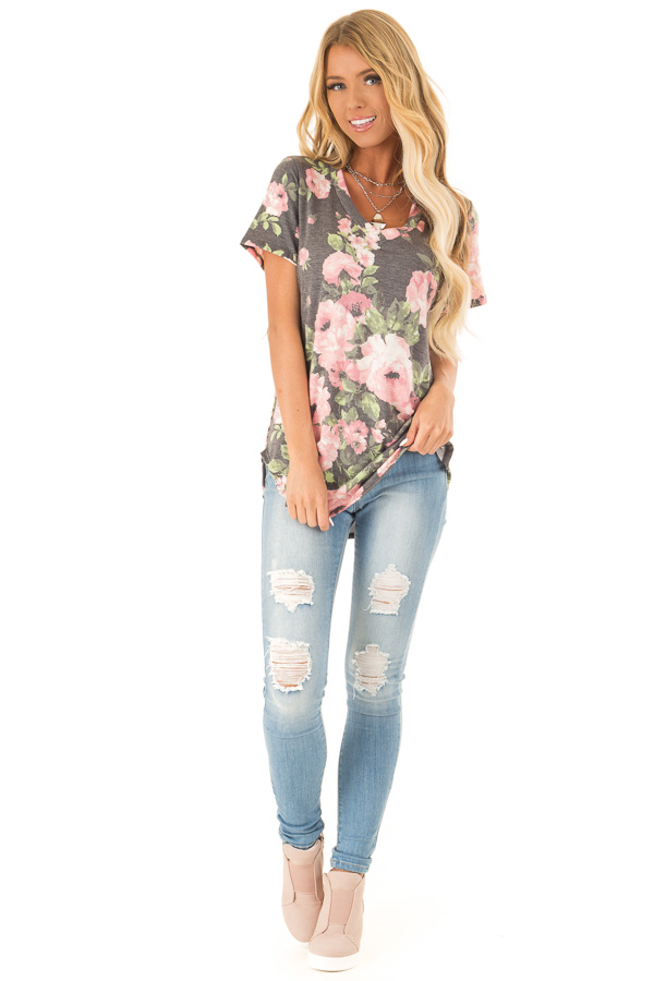 Heather Charcoal Floral V Neck Short Sleeve Top front full body