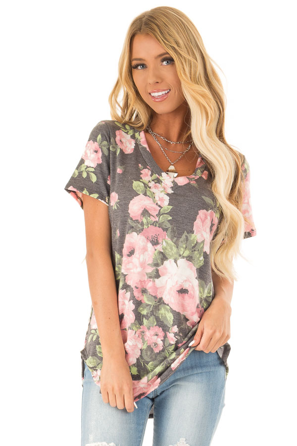 Heather Charcoal Floral V Neck Short Sleeve Top front close up