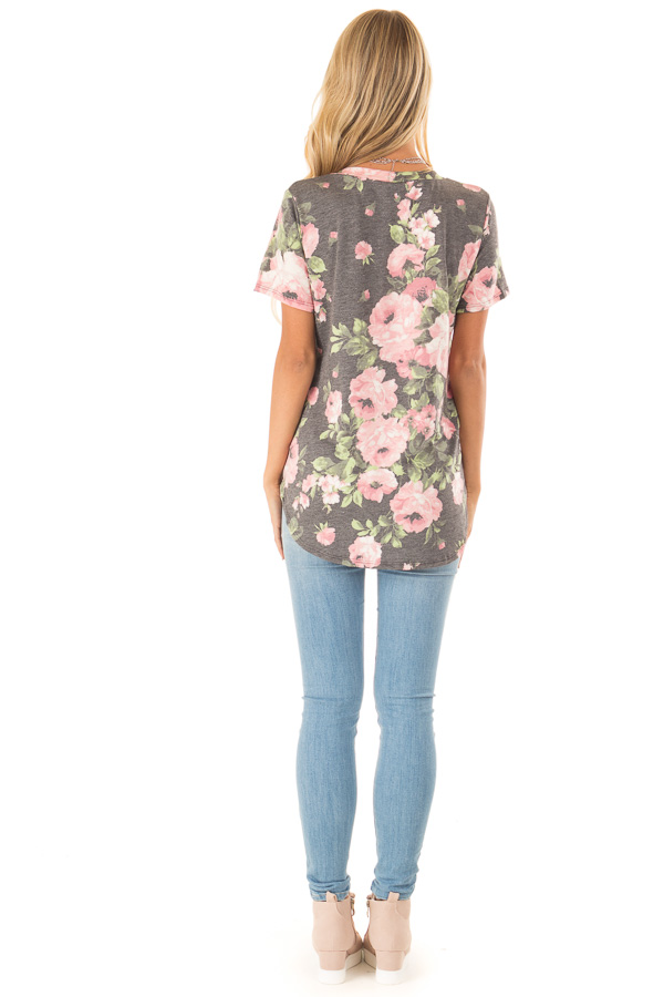 Heather Charcoal Floral V Neck Short Sleeve Top back full body