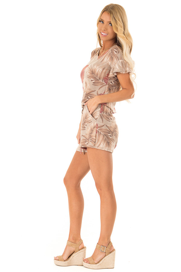 Desert Sand and Rust Leaf Print Romper with Front Tie side full body