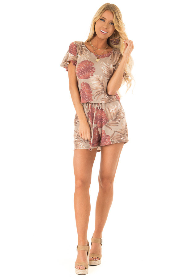 Desert Sand and Rust Leaf Print Romper with Front Tie front full body