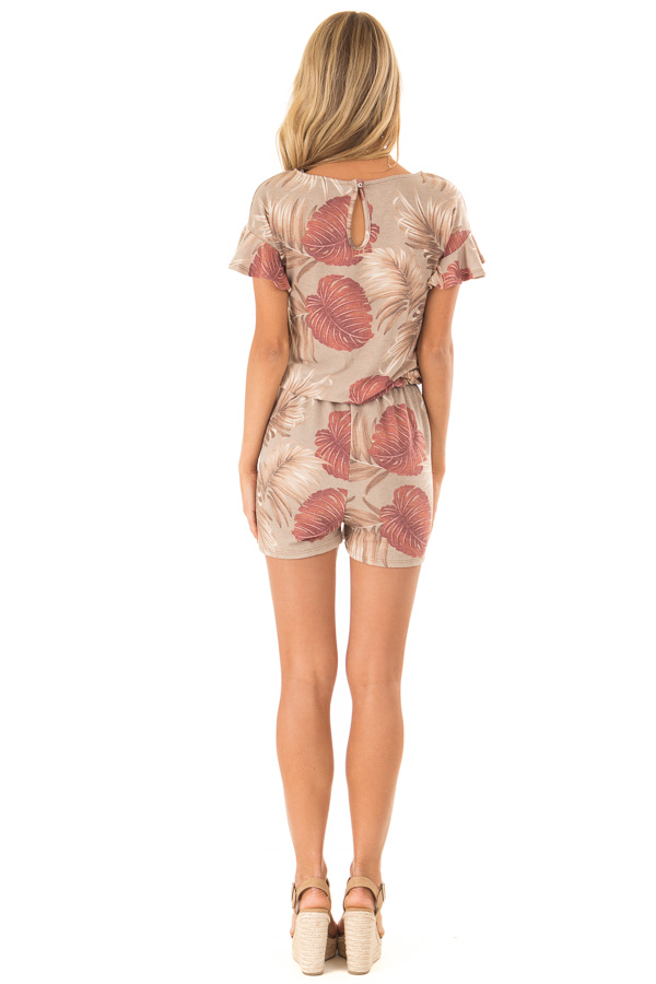Desert Sand and Rust Leaf Print Romper with Front Tie back full body