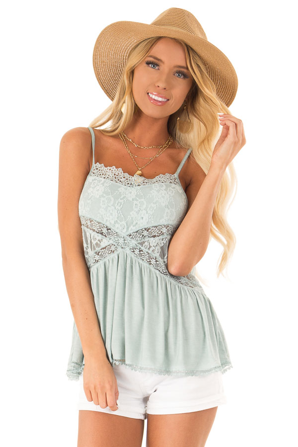 Dusty Blue Peplum Tank with Sheer Lace Side Panels front close up