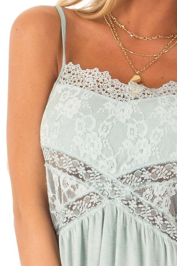 Dusty Blue Peplum Tank with Sheer Lace Side Panels detail