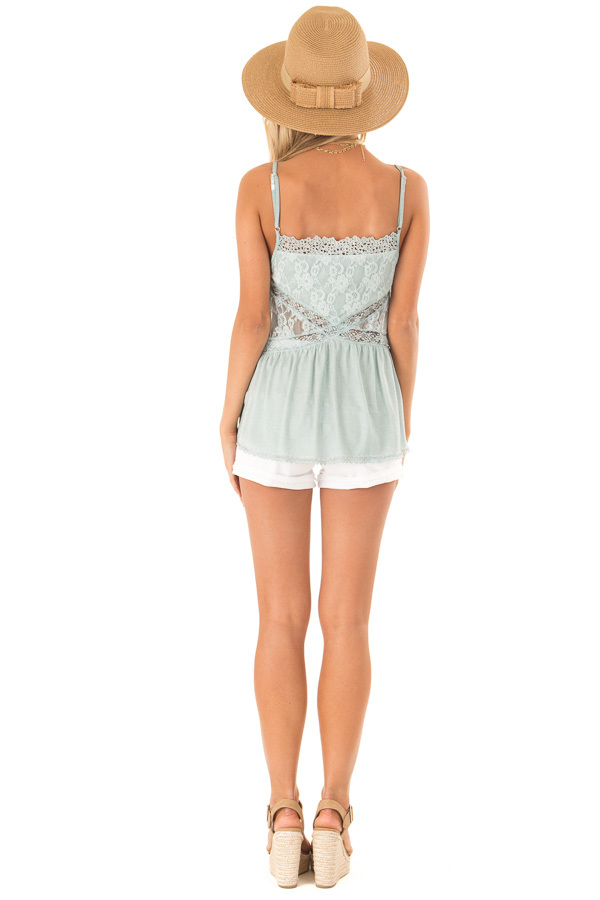 Dusty Blue Peplum Tank with Sheer Lace Side Panels back full body