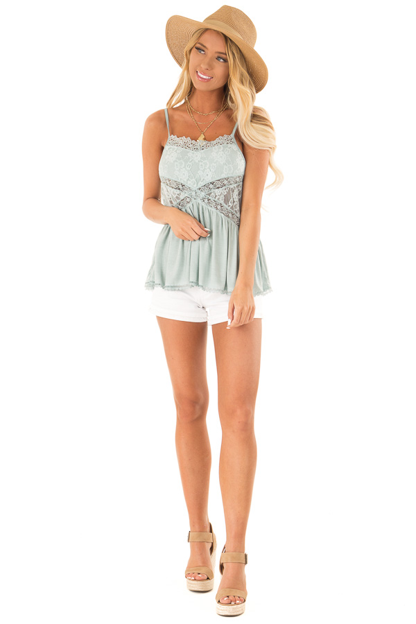 Dusty Blue Peplum Tank with Sheer Lace Side Panels front full body