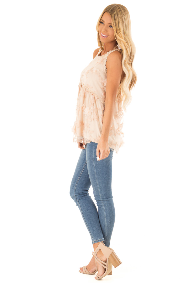 Dusty Peach 3D Floral and Butterfly Print Sheer Lace Top side full body