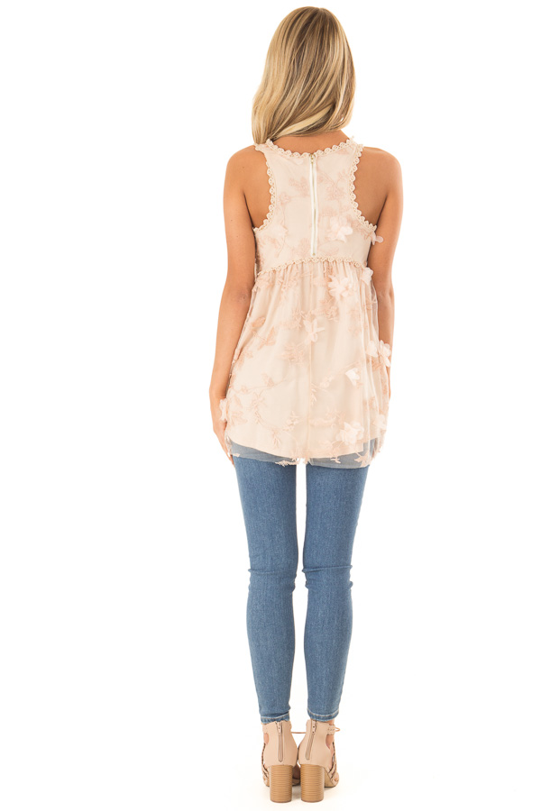 Dusty Peach 3D Floral and Butterfly Print Sheer Lace Top back full body