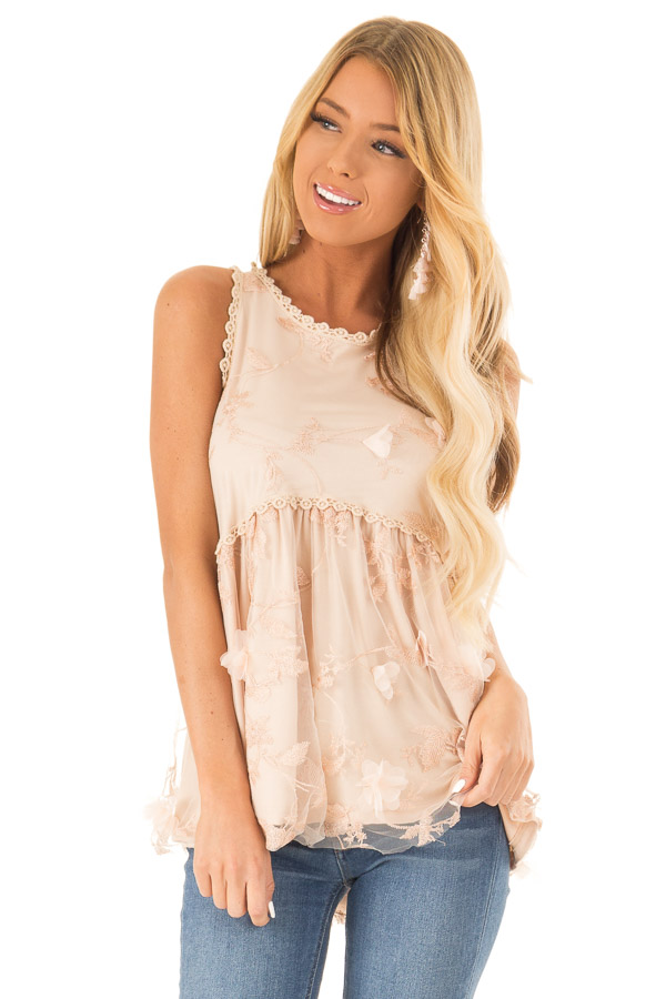 Dusty Peach 3D Floral and Butterfly Print Sheer Lace Top front close up