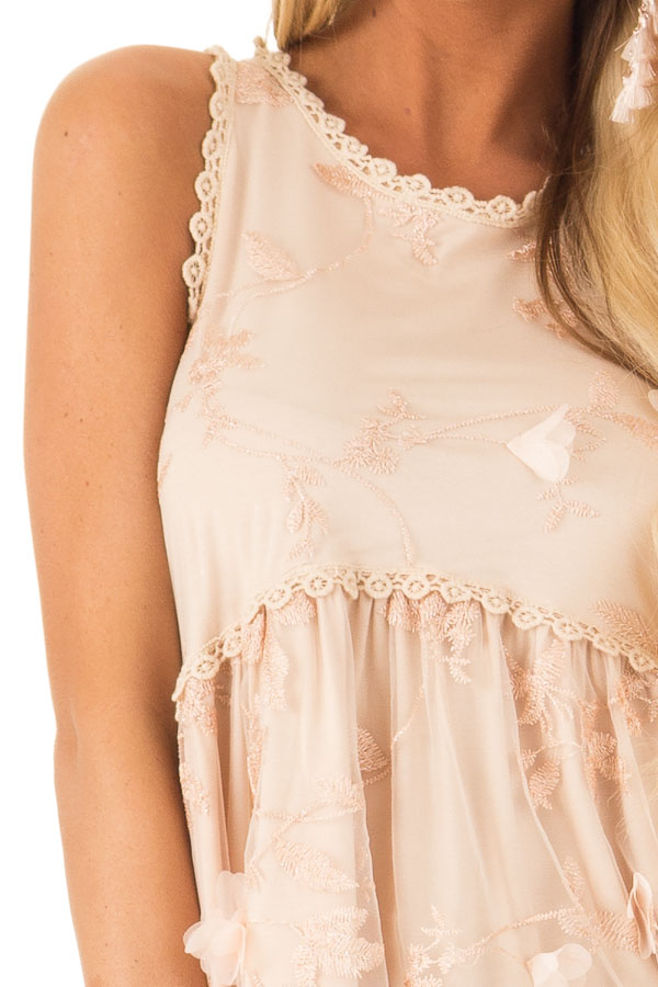 Dusty Peach 3D Floral and Butterfly Print Sheer Lace Top detail