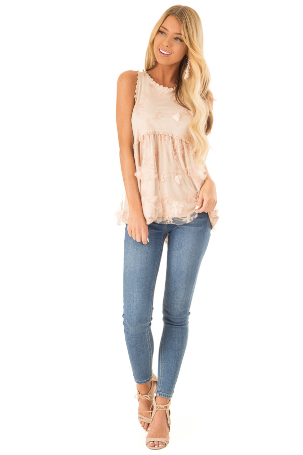 Dusty Peach 3D Floral and Butterfly Print Sheer Lace Top front full body