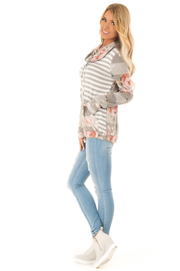 Heather Grey and Ivory Floral Long Sleeve Cowl Neck Top side full body