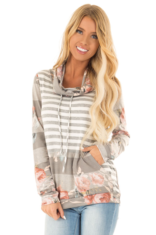 694656a4ea53 Heather Grey and Ivory Floral Long Sleeve Cowl Neck Top - Lime Lush ...