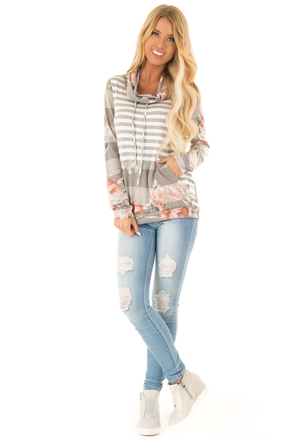 Heather Grey and Ivory Floral Long Sleeve Cowl Neck Top front full body