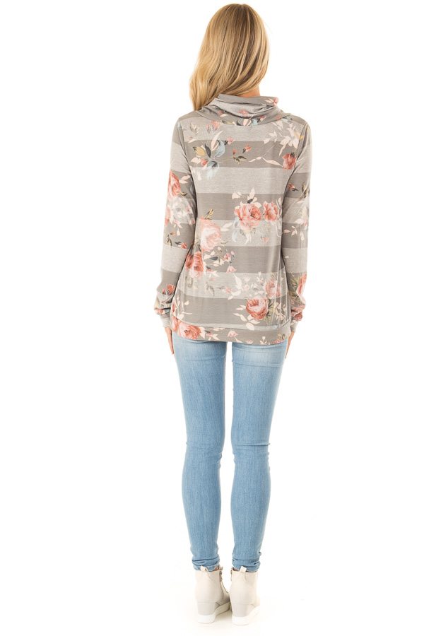 Heather Grey and Ivory Floral Long Sleeve Cowl Neck Top back full body