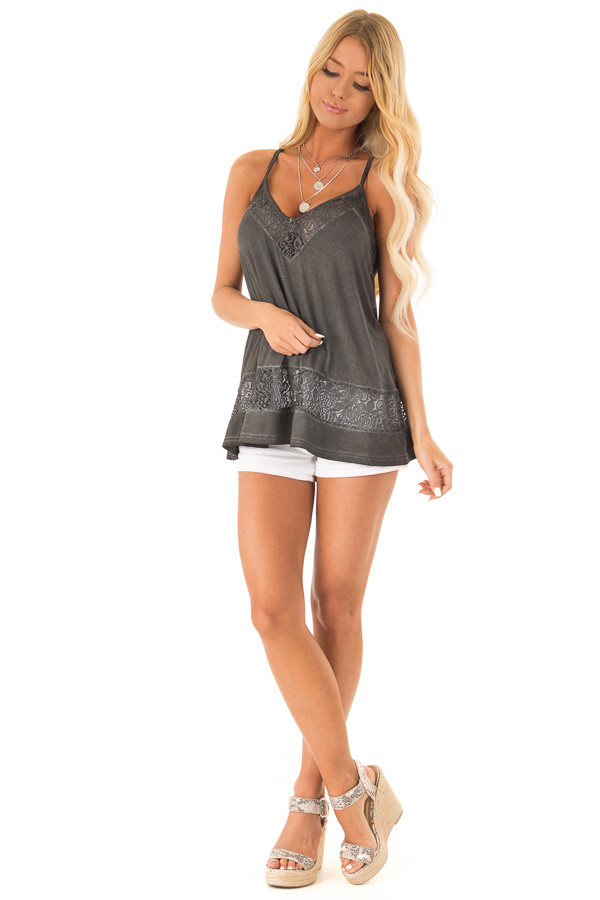 Charcoal V Neck Tank Top with Sheer Floral Lace Detail front full body