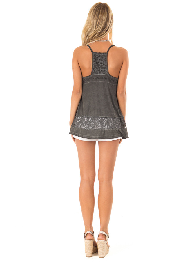 Charcoal V Neck Tank Top with Sheer Floral Lace Detail back full body