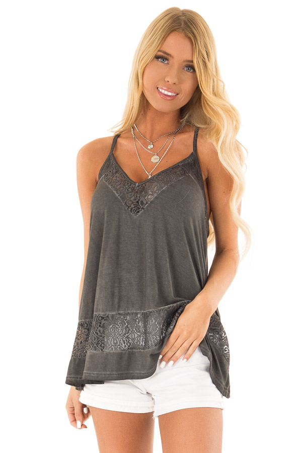 Charcoal V Neck Tank Top with Sheer Floral Lace Detail front close up