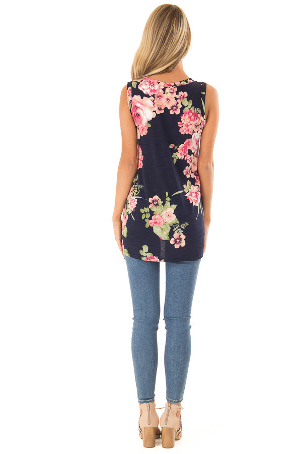 Navy Floral Print Front Twist Sleeveless Top back full body